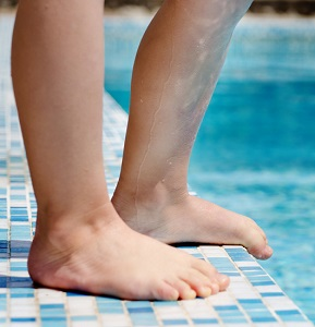 Barefoot at Swimming Pool