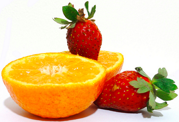Fresh Orange and Strawberries