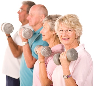 Seniors Holding Dumbbell