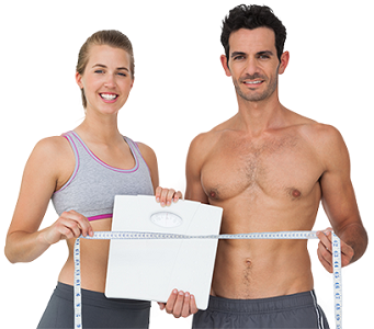 Man and Woman Both Holding Weighing Scale